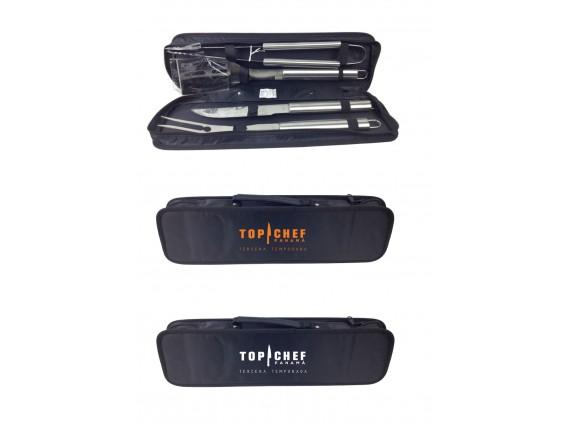 Set de Barbacoa de 4 herramientas en estuche de Nylon con zipper.